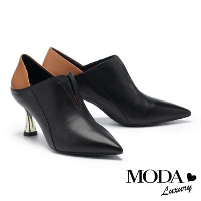 高跟鞋 MODA Luxury 內斂品格拼接牛皮尖頭造型高跟鞋-黑