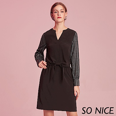 SO NICE都會條紋印花拼接洋裝