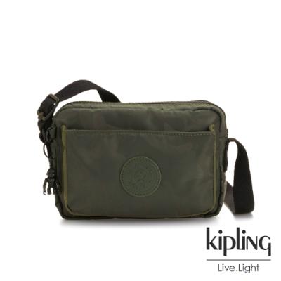 Kipling 迷彩緞灰前後加寬收納側背包-ABANU