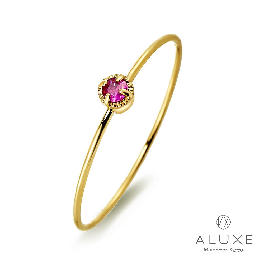 A-LUXE 亞立詩鑽石 Shine日系輕珠寶 黃K金紅寶石線戒女戒