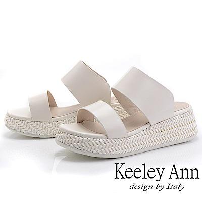 Keeley Ann簡約一字帶 寬帶編織厚底拖鞋(白色-Ann系列)
