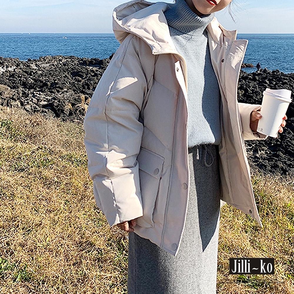 JILLI-KO 時尚保暖立領加厚羽絨棉連帽外套- 黑/杏/黃 (杏色系)