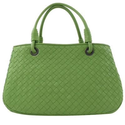 BOTTEGA VENETA 編織皮革雙層手提包(亮綠)