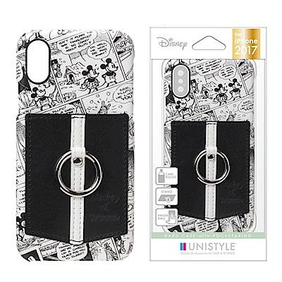 iPhone X 手機殼 迪士尼 皮革/插卡/口袋 指環式 硬殼 5.8吋-滿版...