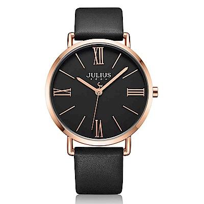 JULIUS聚利時 經典美學簡約時尚皮錶帶腕錶-黑X黑/40mm