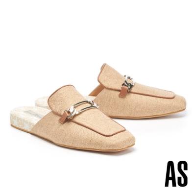 穆勒鞋 AS 慵懶格調斜紋布拼接羊皮方頭穆勒拖鞋-棕