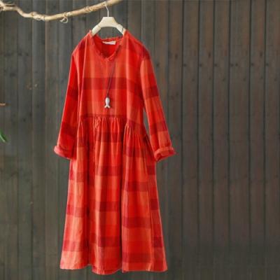 長袖彩棉格子寬鬆顯瘦長洋裝-設計所在