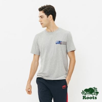 ROOTS 男裝-  整冰車短袖T恤-灰