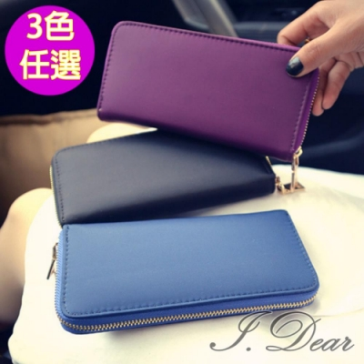 I.Dear-休閒時尚尼龍中長拉鍊錢包長夾手機包WL07(3色)