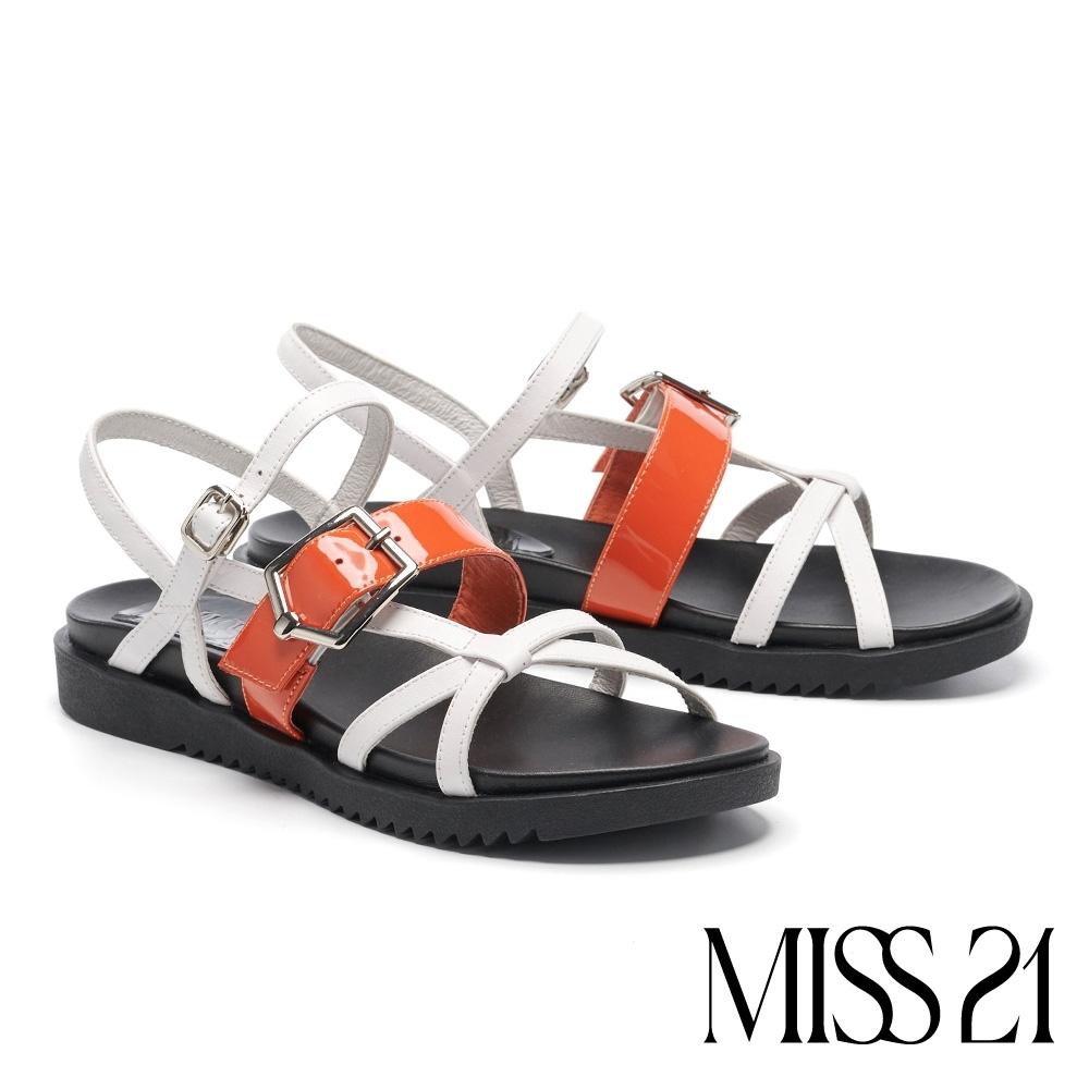 涼鞋 MISS 21 個性多條帶結構式牛皮厚底涼鞋-白