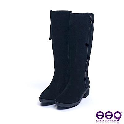ee9 經典素面百搭防水台方跟長筒靴 黑色
