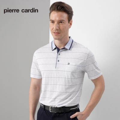 Pierre Cardin皮爾卡登 男裝 單面條紋印花短袖polo衫上衣-灰色(5197287-92)