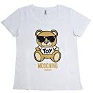 MOSCHINO 金色TOY小熊 LOGO圖騰100%棉質T恤(白/M)