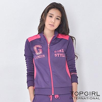 【TOP GIRL】撞色拼接立領針織印花外套-女(魅力紫)