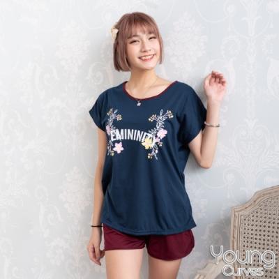 睡衣 彈性棉質短袖兩件式睡衣(C01-100705女人香花草集) Young Curves