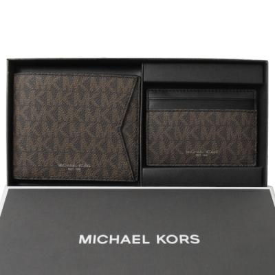 MICHAEL KORS GIFTING 經典PVC八卡對開短夾(黑深咖/禮盒組)
