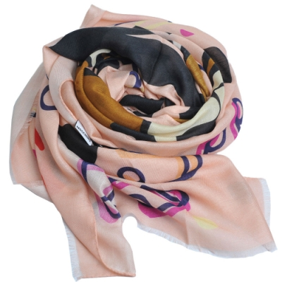 MOSCHINO 品牌音樂TOY小熊LOGO義大利製羊毛混莫代爾披肩/圍巾(粉紅系)