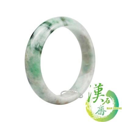 【漢石齋】天然A貨 糯種飄花帶陽綠 翡翠手鐲(手圍19.3/ 版寬 16.3mm)