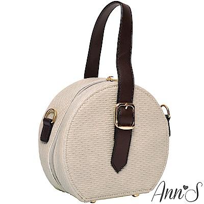 Ann'S個性鮮明-金鍊肩背手提2way圓形小包-杏