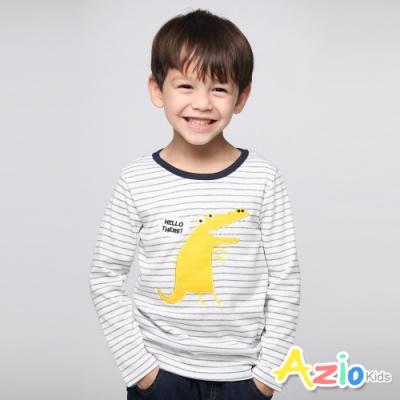 Azio Kids 男童 上衣 哈囉黃色鱷魚條紋長袖上衣 (白)