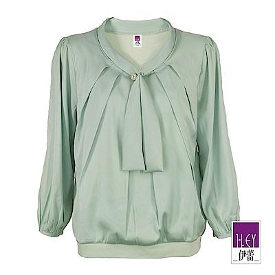 ILEY伊蕾 珍珠裝飾領帶造型緞面上衣(綠)