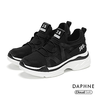 達芙妮DAPHNE 休閒鞋-個性標語綁帶拼接網布厚底休閒鞋-黑