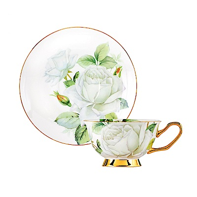 Royal Duke 骨瓷咖啡杯碟組-蒙馬特白玫瑰(二杯二碟)