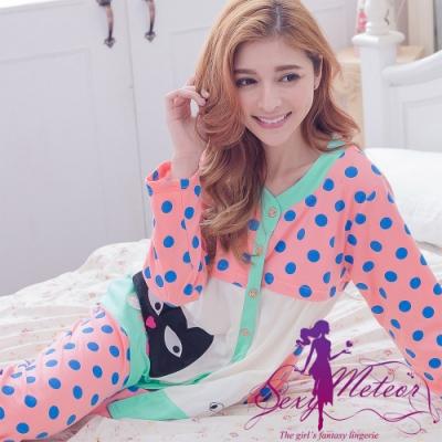睡衣 全尺碼 點點貓咪哺乳孕婦裝居家長袖二件式睡衣組(俏麗深粉) Sexy Meteor