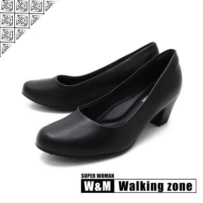 WALKING ZONE SUPER WOMAN系列 圓頭素面中跟淑女鞋上班鞋 女鞋- 黑(另有藍.卡其)