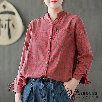 小格紋袖口系帶襯衫-共3色(F可選)    初色