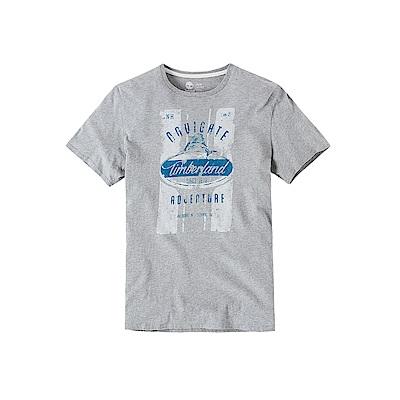 Timberland 男款淺灰時尚戶外純棉短袖T恤 | A1MJZ052