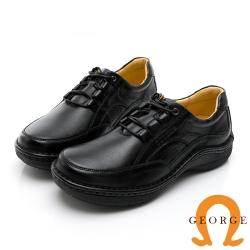 GEORGE 喬治皮鞋 舒適系列 真皮厚底縫線氣墊鞋-黑