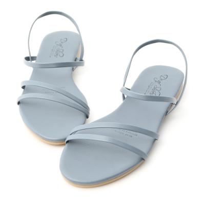 D+AF 夏氛首選.精緻細帶平底涼鞋*藍