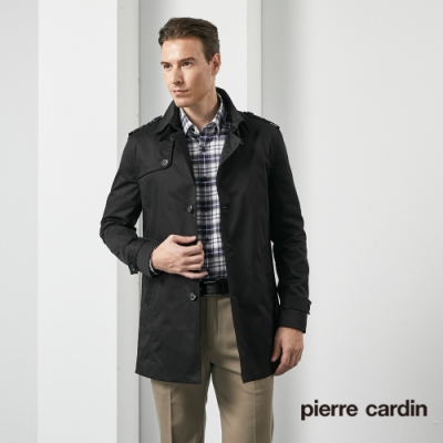 Pierre Cardin皮爾卡登 男裝 都會休閒修身版翻領風衣外套-黑色(5205781-99)
