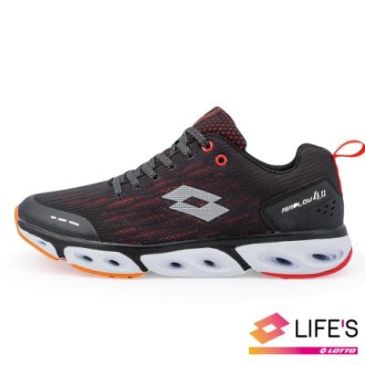 LOTTO 義大利 男 AIR FLOW 4.0  風動跑鞋 (黑紅)
