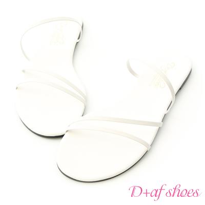 D+AF 優雅美感.精緻細帶平底涼鞋*白