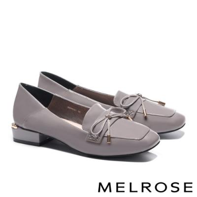 低跟鞋 MELROSE 經典質感蝴蝶結全真皮方頭低跟鞋-灰