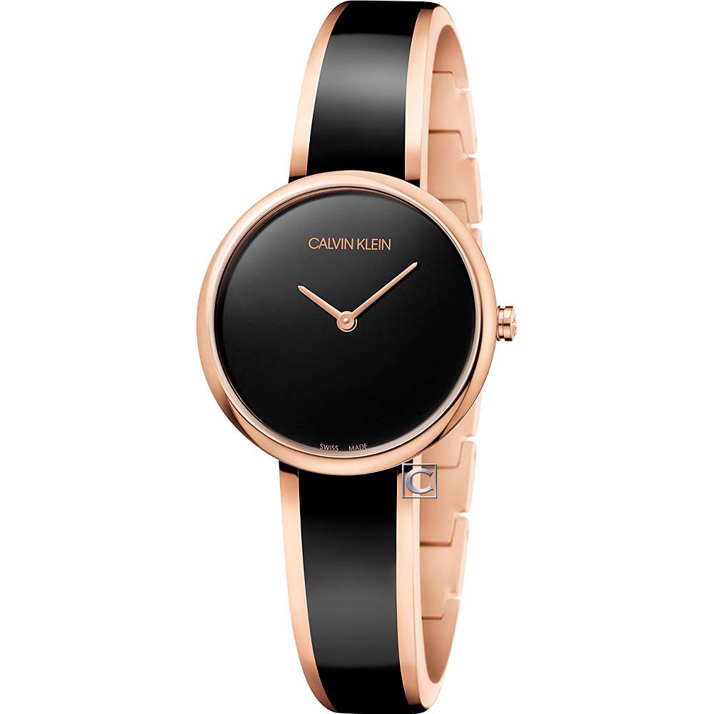 Calvin Klein 誘惑時尚手環式腕錶(K4E2N611)-黑x玫瑰金/30mm