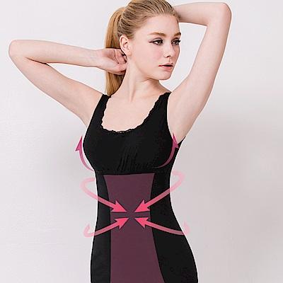 棉質蕾絲塑身M-3XL美體保暖透氣衣 神秘黑 可蘭霓Clany