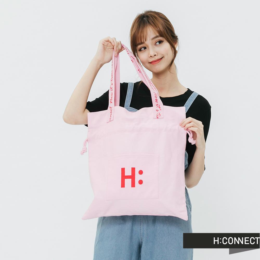 H:CONNECT 韓國品牌 -束口造型帆布包-粉