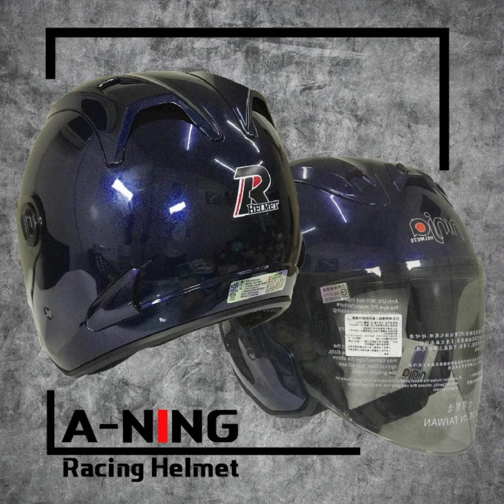 A-NING 時尚R帽 類經典Arai安全帽 雙導流 貓耳 外銷日本式樣款 機車 K1 (墨藍)