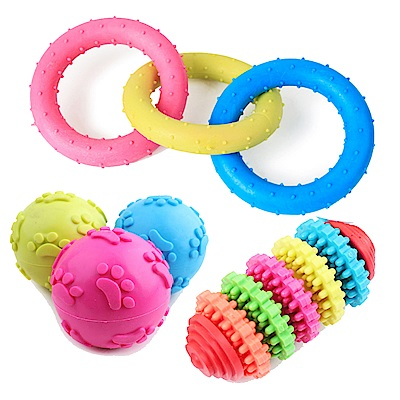 寵愛有家-TPR橡膠磨牙健齒寵物玩具-3入(寵物磨牙玩具)