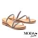 拖鞋 MODA Luxury 異國度假風金蔥麻花繫帶楔型拖鞋-古銅 product thumbnail 1