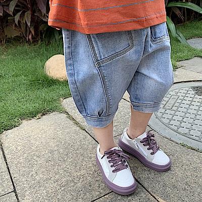 小衣衫童裝  兒童淺藍軟牛仔泡泡五分褲牛仔褲1080430