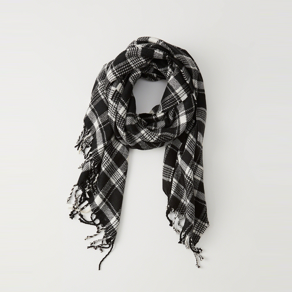 A&F 經典格紋舒適保暖圍巾-黑白色 AF Abercrombie