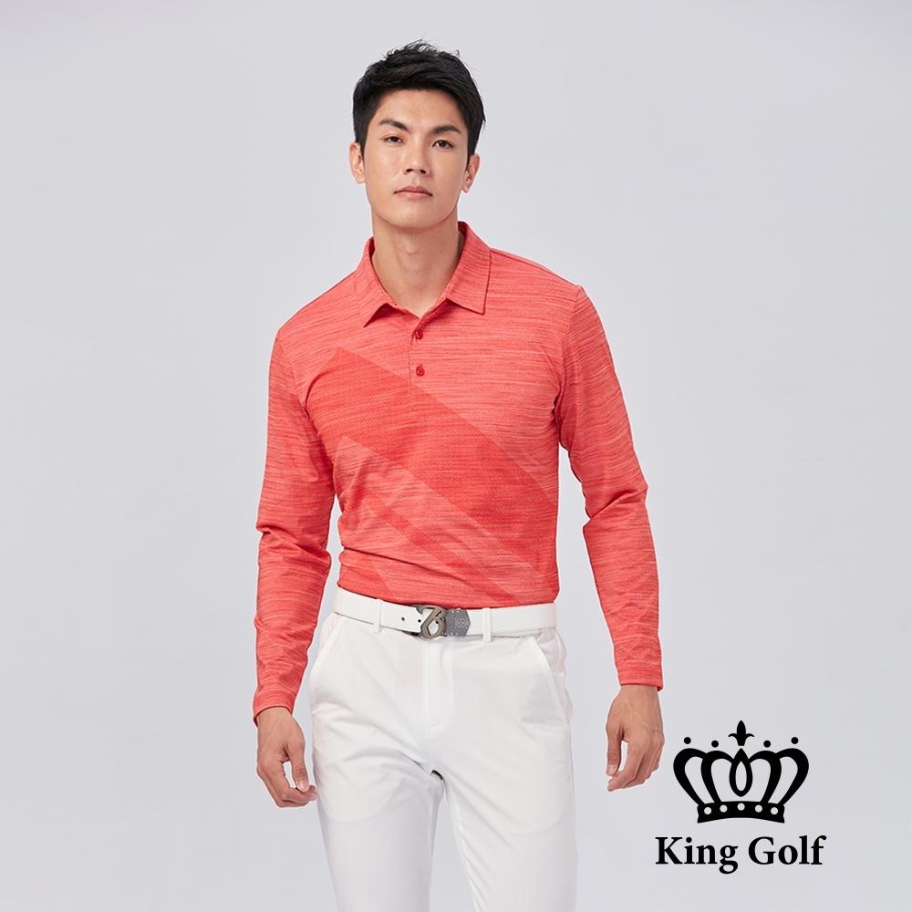 【KING GOLF】大印圖雪花布花中厚款長袖POLO衫-橘紅色