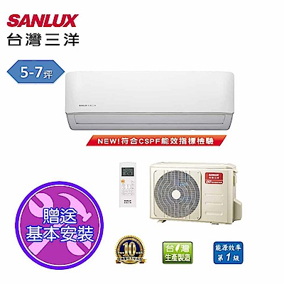 台灣三洋SANLUX 5-7坪時尚變頻一對一單冷SAE-V36F/SAC-V36F