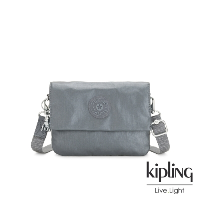 Kipling 簡約亮銀灰翻蓋斜側背包-OSYKA
