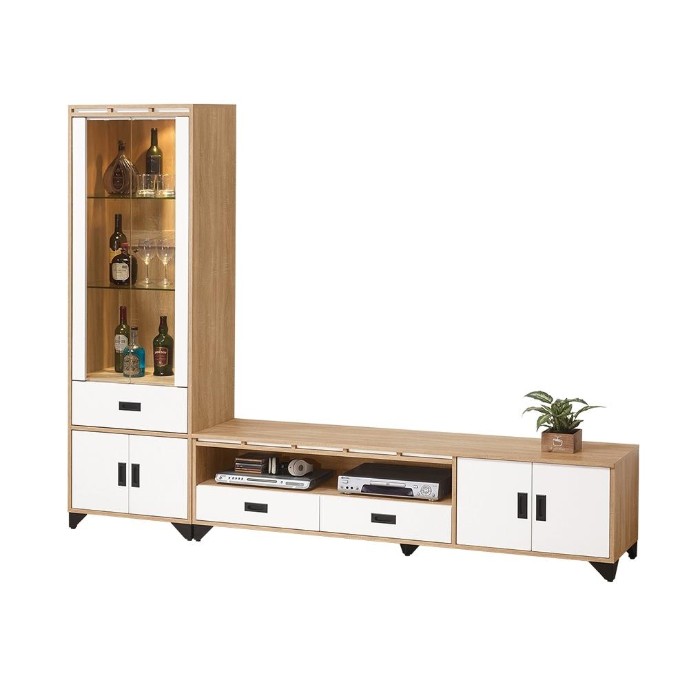 Bernice-喬科7尺L型電視櫃組合(展示櫃+長櫃)-211x40x190cm
