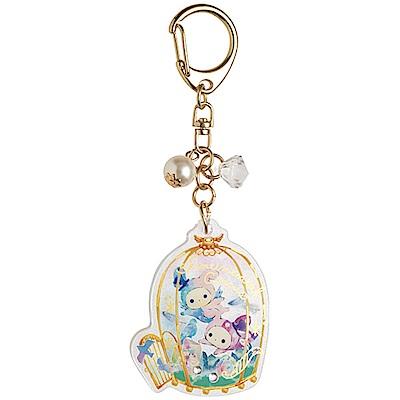 魔幻馬戲團藍鳥的寶石系列閃亮扣環吊飾。金色鳥籠San-X